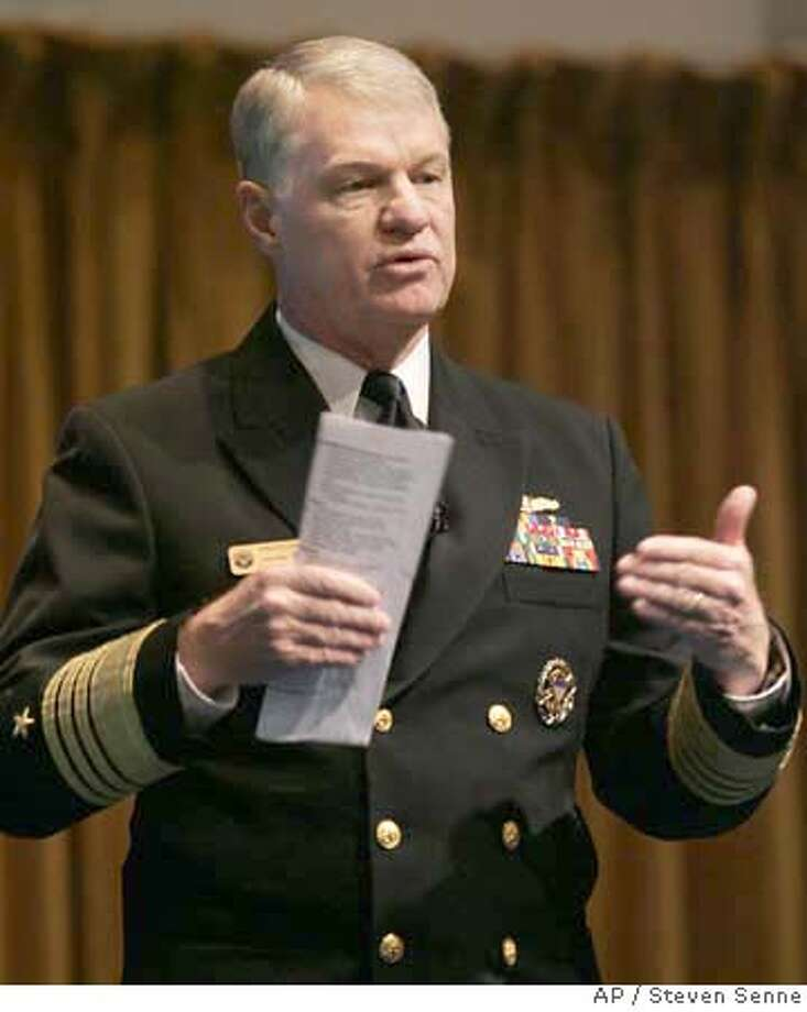 U.S. Navy Adm. Gary Roughead, chief of naval operations, addresses an audience of naval representatives from 100 countries during the International Sea Power Symposium at the Naval War College, in Newport, R.I., Wednesday, Oct. 17, 2007. In the first major revision of U.S. naval strategy in two decades, maritime officials said Wednesday they plan to focus more on humanitarian missions and improving international cooperation as a way to prevent conflicts. (AP Photo/Steven Senne) Photo: Steven Senne