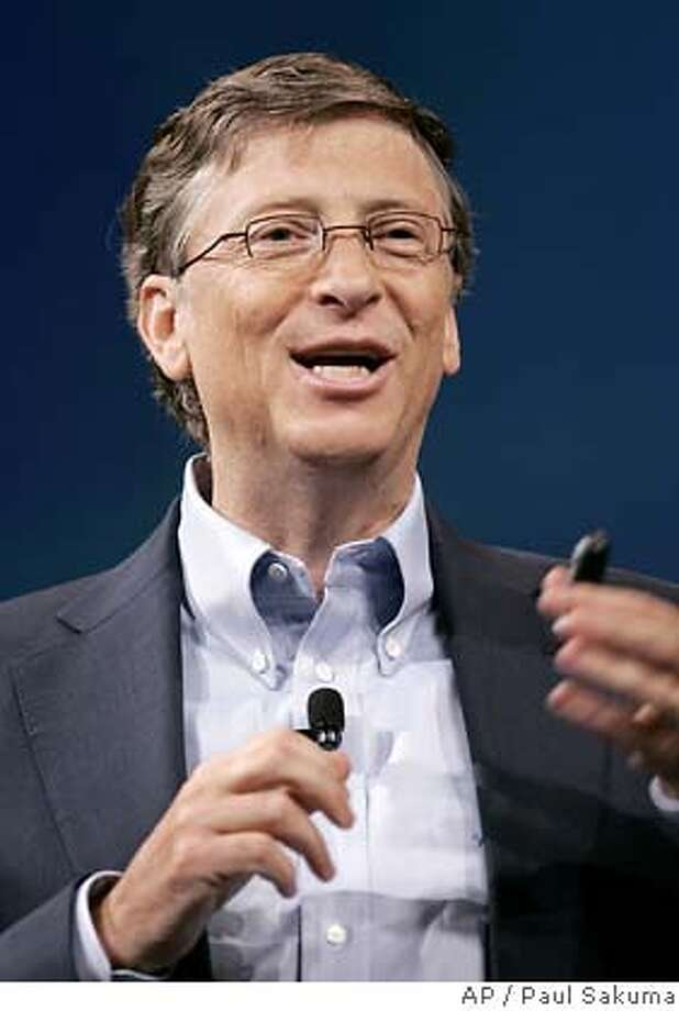 Microsoft Corp. founder Bill Gates smiles during a launch announcement at the Unified Communications Server 2007 conference in San Francisco, Tuesday, Oct. 16, 2007. Microsoft Corp. launches programs that allow computer users to place calls right from Outlook and other Office applications, but analysts say the software maker must prove its tools are as reliable as those from established phone equipment makers. (AP Photo/Paul Sakuma) Photo: Paul Sakuma
