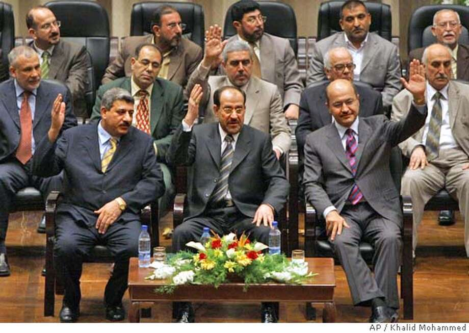 Salam Zikam Ali al-Zubaie, Nouri al-Maliki, Barham Saleh Photo: KHALID MOHAMMED