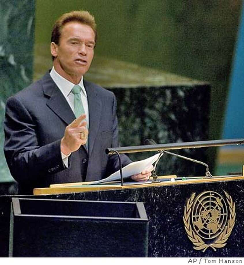 California Gov. Arnold Schwarzenegger delivers his speech on climate change at the United Nations headquarters Monday, Sept. 24, 2007. (AP Photo/The Canadian Press, Tom Hanson) Photo: TOM HANSON