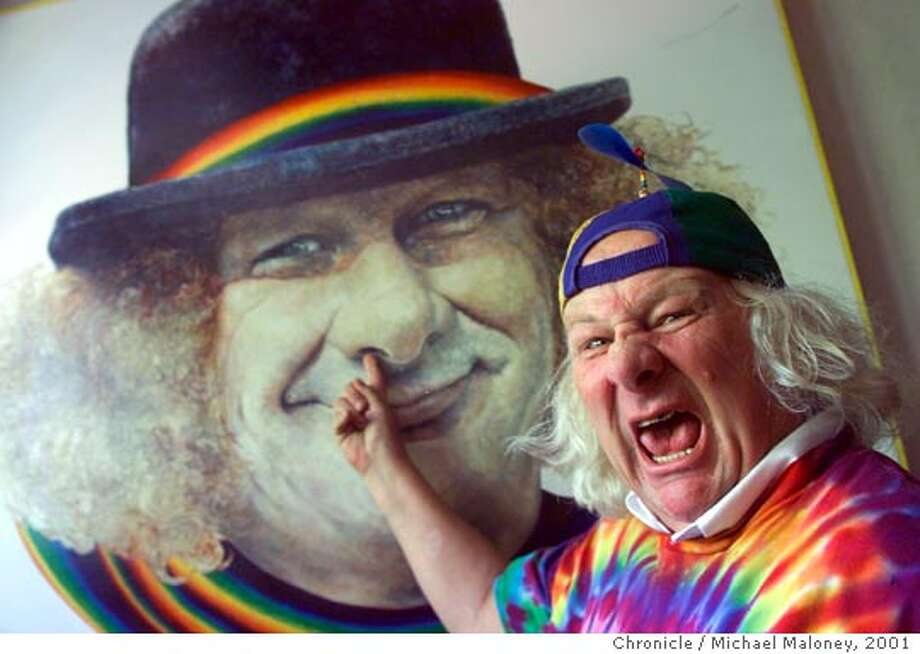 WAVY1-C-07MAY01-MT-MJM  Hippie icon Wavy Gravy turns 65. There will be a birthday bash in his honor on 5/15 in Berkeley. Forever clowning, he poses in front of a portrait of himself in his Berkeley home. The portrait was painted by Bolinas artist Ruby Lee in 1986. ALSO RAN 4/19/02  CHRONICLE PHOTO BY MICHAEL MALONEY  Ran on: 05-18-2006  Wavy Gravy will celebrate his birthday with a bunch of notable friends -- for charity, of course.  Ran on: 05-18-2006  Wavy Gravy will celebrate his birthday with a bunch of notable friends -- for charity, of course. Photo: MICHAEL MALONEY