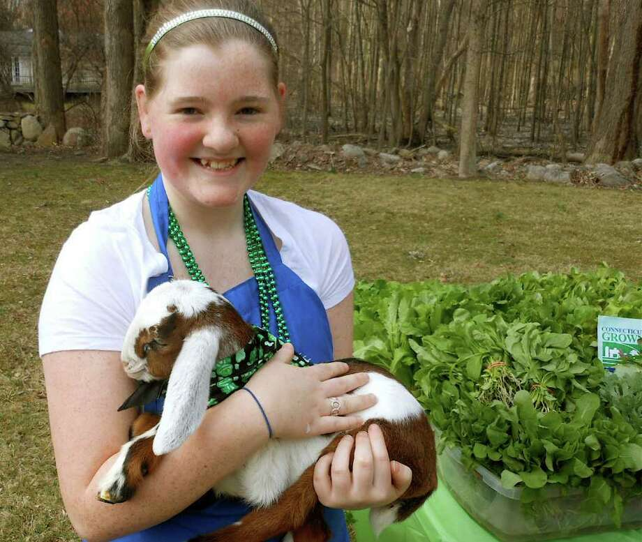 Anna Kimberly with a baby goat, Ada Oklahoma, from Butterfield Farm of East Granby on Saturday at Norfield Grange's Winter Farmers Market. Photo: Mike Lauterborn / Westport News contributed