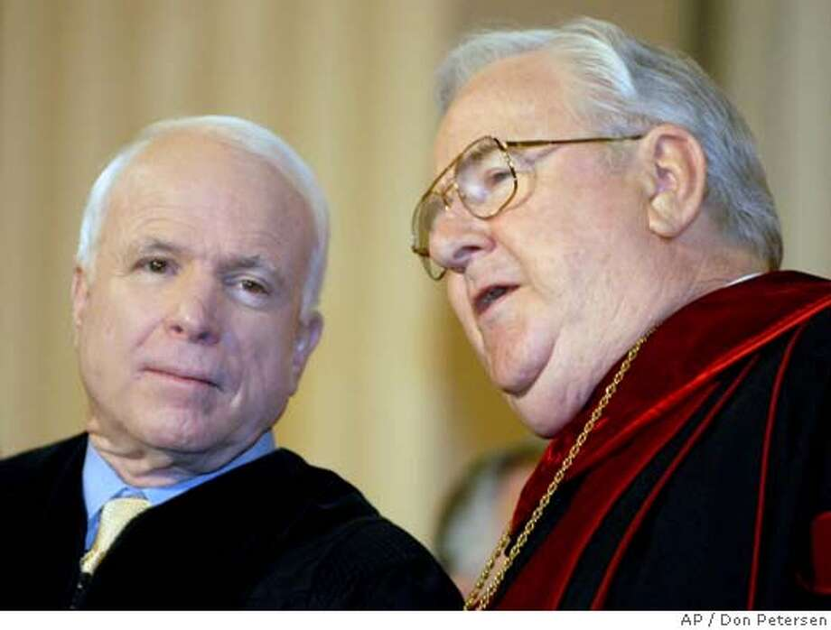 John McCain Jerry Falwell Photo: DON PETERSEN