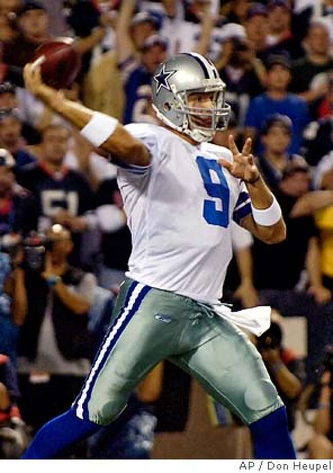 Dallas Cowboys quarterback Tony Romo throws during the first quarter of the NFL football game against the Buffalo Bills at Ralph Wilson Stadium in Orchard Park, N.Y., Monday, Oct. 8, 2007. (AP Photo/Don Heupel) Photo: Don Heupel