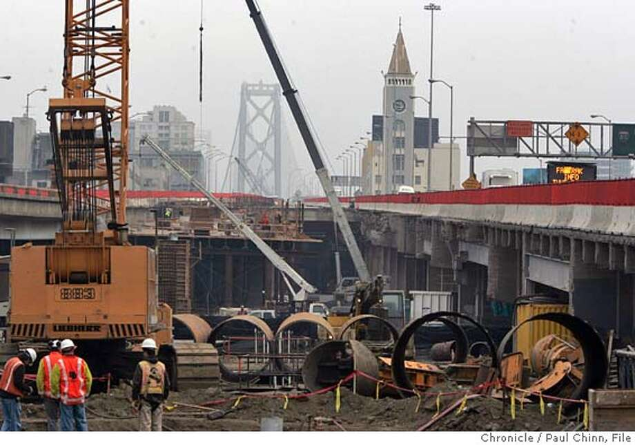 baybridge_121_pc.jpg  Construction work on the western approach of the Bay Bridge looking east in San Francisco, Calif. on 12/16/05. Caltrans is replacing the old double-deck section with a new seismically-safer approach.  PAUL CHINN/The Chronicle MANDATORY CREDIT FOR PHOTOG AND S.F. CHRONICLE/ - MAGS OUT Photo: PAUL CHINN