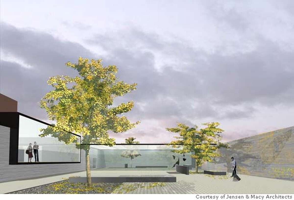 A view of the Jensen & Macy Architects design for a rooftop sculpture garden for the San Francisco Museum of Modern Art, with Fisher Gallery extension on the left, an enclosed pavilion in the center and a lichen-covered wall on the right. Photo courtesy Jensen & Macy Architects.