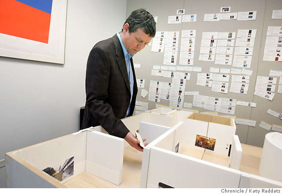 WALL_042_RAD.jpg SHOWN: Jeff Wall is a photographer who will have a retrospective at the San Francisco Museum of Modern Art soon. He's looking at the model of how his show will look. These pictures were made on Tuesday, March 13, 2007, in San Francisco, CA.  (Katy Raddatz/The Chronicle) **Jeff Wall Mandatory credit for the photographer and the San Francisco Chronicle. No sales; mags out. Photo: Katy Raddatz