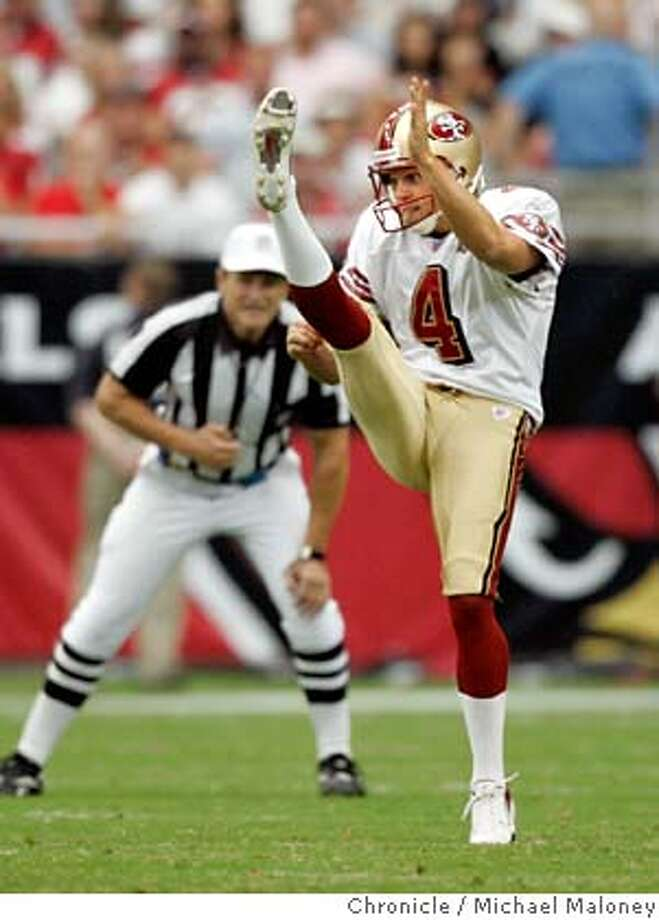 49ers punter Andy Lee (#4)  San Francisco 49ers vs Arizona Cardinals at the new Cardinals Stadium in Glendale, Arizona.  Photo by Michael Maloney / San Francisco Chronicle on 9/10/06 in Glendale,AZ  Ran on: 09-26-2006  Mike Nolan said several factors &quo;blended&quo; into his decision not to go for it on 4th-and-1.  Ran on: 09-26-2006  Mike Nolan said several factors &quo;blended&quo; into his decision not to go for it on 4th-and-1.  Ran on: 09-26-2006  Mike Nolan said several factors &quo;blended&quo; into his decision not to go for it on 4th-and-1.  Ran on: 03-09-2007  Haji Nusrat  Ran on: 03-09-2007  Haji Nusrat  Ran on: 03-09-2007 MANDATORY CREDIT FOR PHOTOG AND SF CHRONICLE/NO SALES-MAGS OUT Photo: Michael Maloney