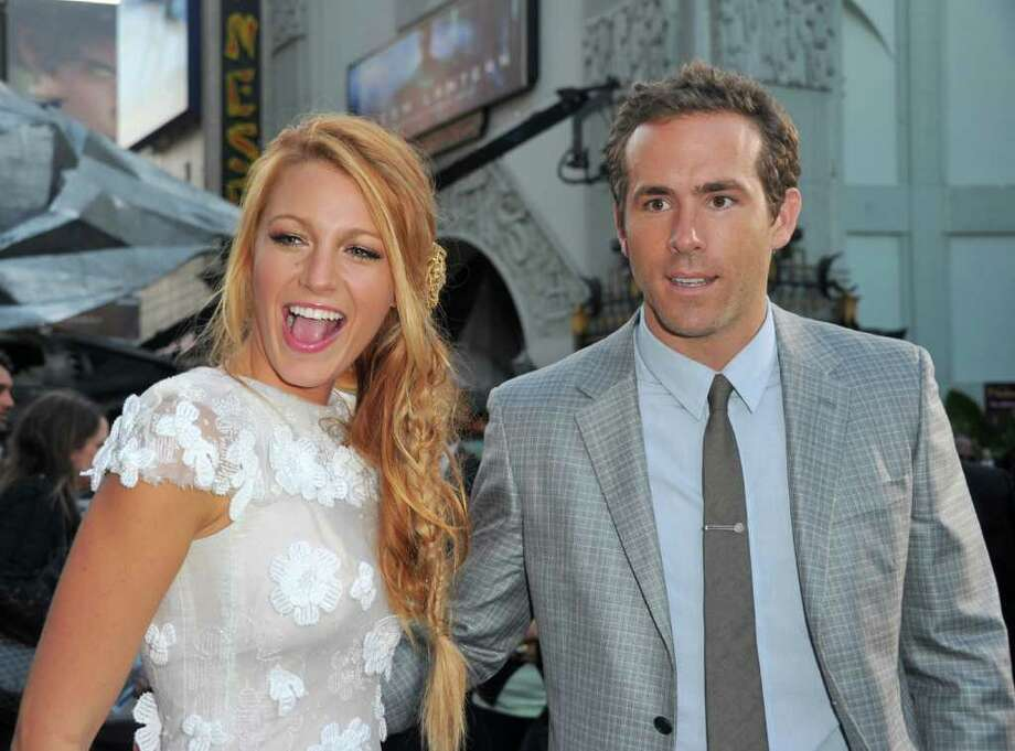 "Actors Blake Lively and Ryan Reynolds, pictured arriving at the Hollywood premiere of ""Green Lantern"" in June, were spotted in Greenwich and Bedford, N.Y. last week. (Photo by Alberto E. Rodriguez/Getty Images) Photo: Alberto E. Rodriguez, Getty Images / 2011 Getty Images"
