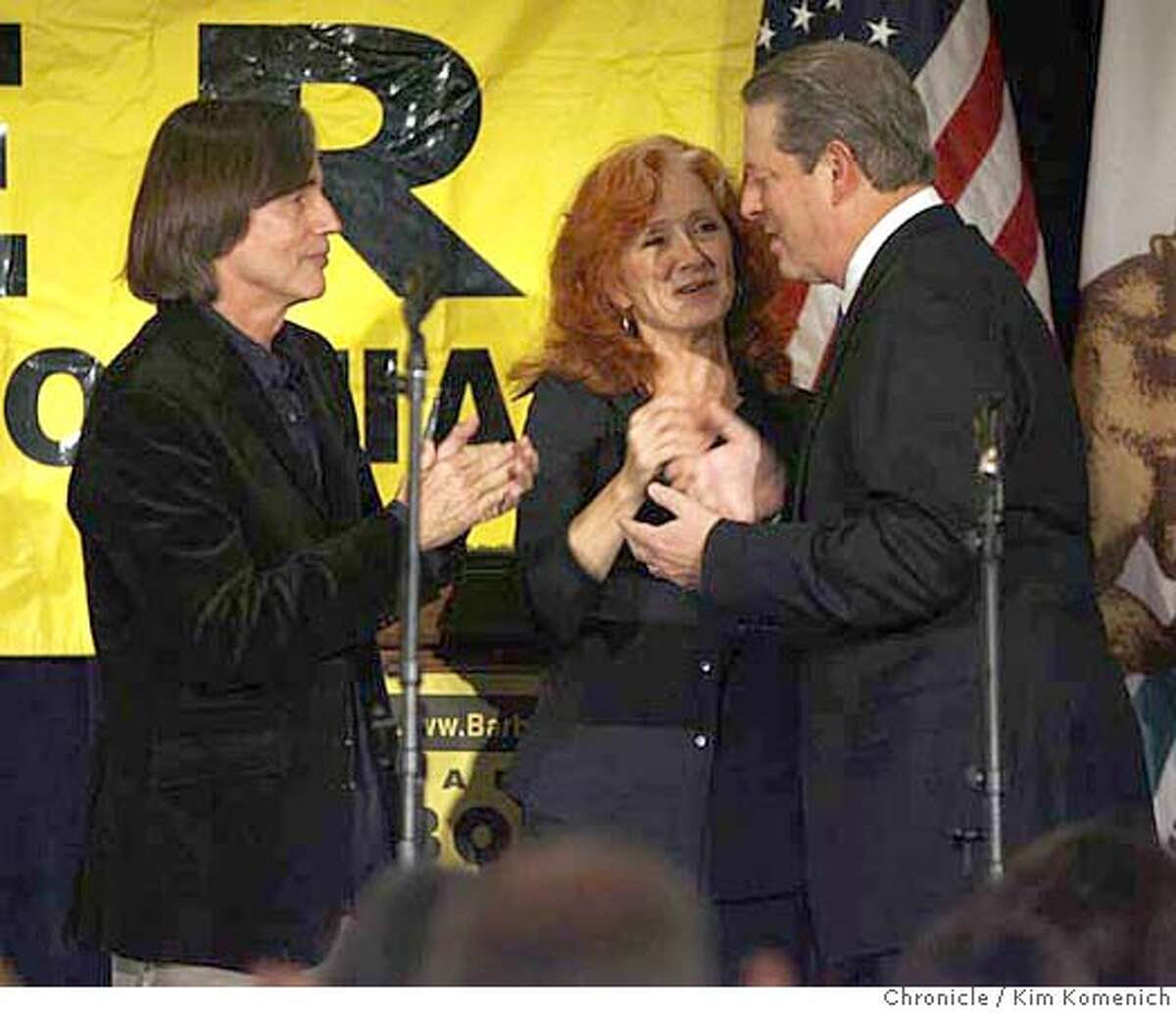 Jackson Browne and Bonnie Raitt greet Former Vice President Al Gore as he enters the stage at a fundraiser for Sen. Barbara Boxer at the St. Francis Hotel Thursday night. Photo by Kim Komenich/The Chronicle **Jackson Browne, Bonnie Raitt, Al Gore