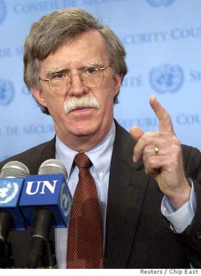 US Ambassador to UN Bolton speaks after consultations by the Security Council at the United Nations, in New York Photo: CHIP EAST