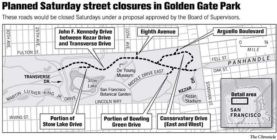 Planned Saturday Street Closures in Golden Gate Park. Chronicle Graphic