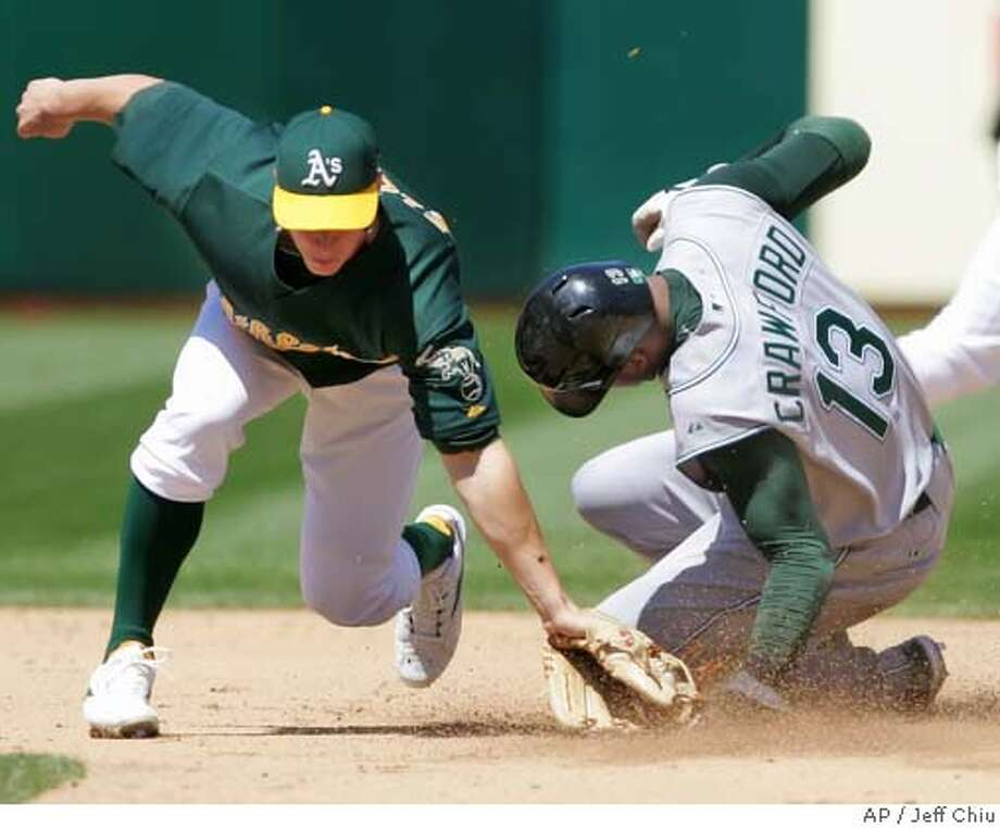 Tampa Bay Devil Rays' Carl Crawford, right, steals second base as Oakland Athletics' Bobby Crosby reaches to tag him in the fifth inning of their baseball game in Oakland, Calif., Sunday, May 7, 2006. Crawford scored later in the inning on Jonny Gomes' double. (AP Photo/Jeff Chiu) Photo: JEFF CHIU