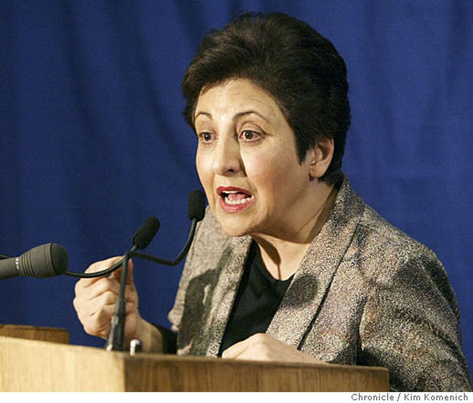 Shirin Ebadi, who won the Nobel in 2003, says hero-worshiping can be destructive. Chronicle photo by Kim Komenich