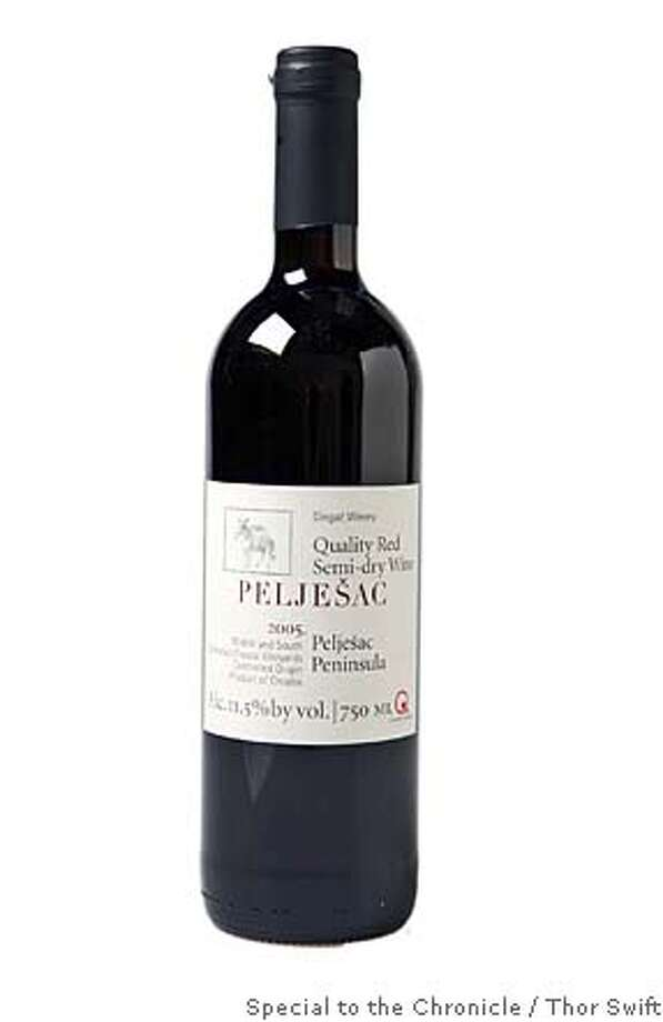 A bottle of Peljesac 2005 red wine from Peljesac winery in Croatia, photographed in the San Francisco Chronicle studio, Thursday, Oct. 4, 2007.  Thor Swift For The San Francisco Chronicle Photo: Thor Swift