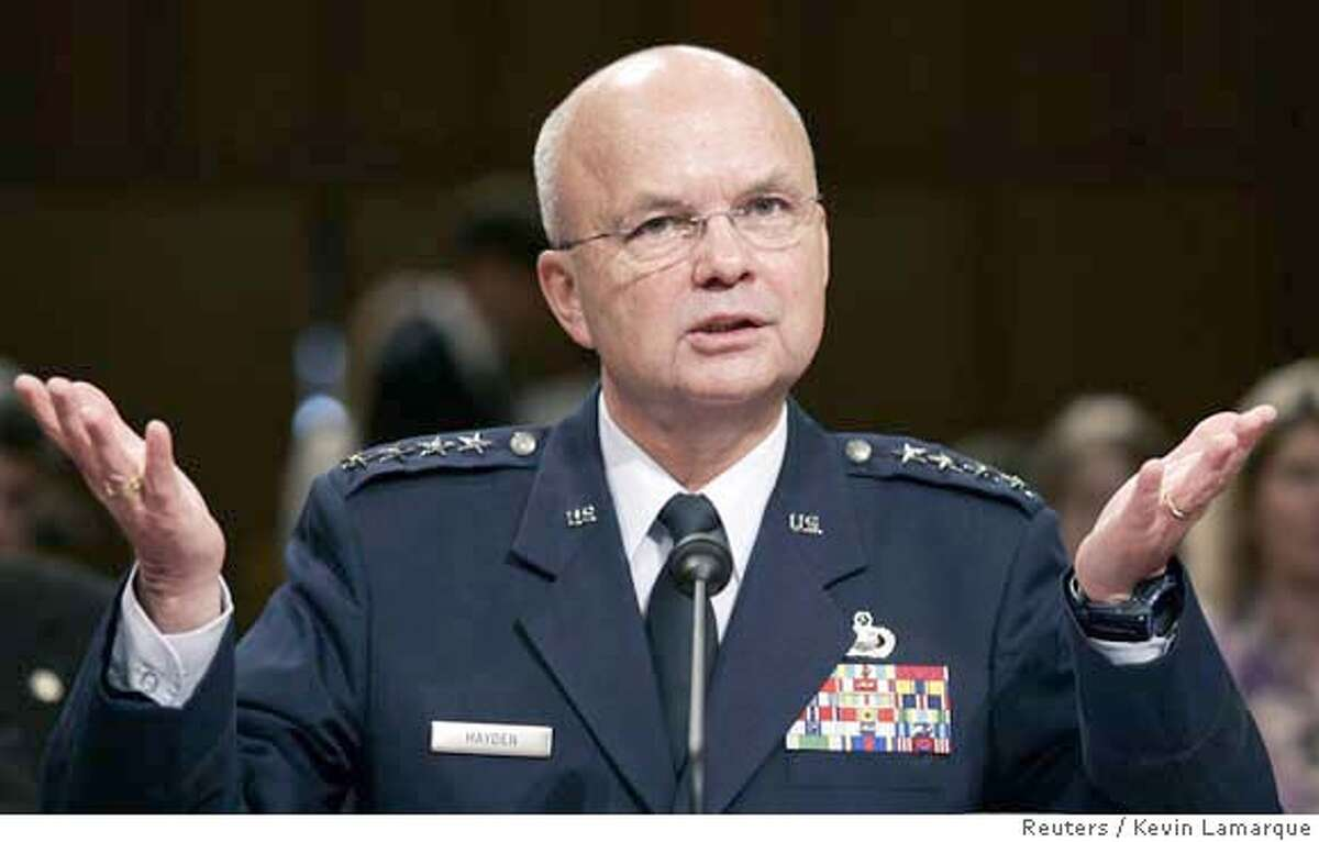 General Michael Hayden, U.S. President George W. Bush's nominee for CIA director, speaks during his confirmation hearing before the Senate Select Committee on Intelligence on Capitol Hill in Washington May 18, 2006. Hayden strongly defended a domestic eavesdropping program on Thursday, saying it was vital to protect the country against terrorism and did not violate Americans' civil rights. REUTERS/Kevin Lamarque Ran on: 05-19-2006 Gen. Michael Hayden defended warrantless eavesdropping programs during hearings Thursday. ALSO Ran on: 09-24-2006 Ran on: 09-24-2006 ALSO Ran on: 06-22-2007 CIA Director Michael Hayden said of the documents to be released, Most of it is unflattering, but it is CIAs history. ALSO Ran on: 07-21-2007 Gen. Michael Hayden, CIA director, defended an interrogation program for terrorism suspects. Ran on: 07-21-2007 Gen. Michael Hayden, CIA director, defended an interrogation program for terrorism suspects. 0