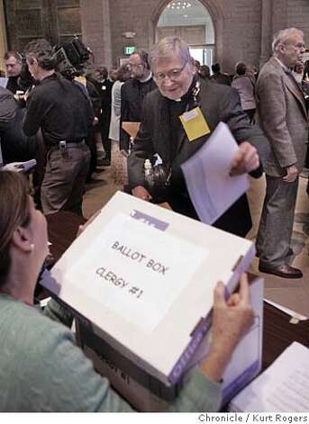 Robert Bettinger of San Diego casts his Ballot in one of the morning votes.  Bay Area Episcopalians and their clergy choose a new leader Saturday in polling that could last into the evening. If they select one of the three gay candidates as bishop of the Diocese of California, many Episcopalians say that could cause a schism in the Anglican Communion, the group of churches worldwide that trace their roots to the Church of England. All seven candidates are very accomplished, including one person who is already a bishop and one who is the pastor of the Washington National Cathedral. KURT ROGERS SAN FRANCISCO THE CHRONICLE  SFC EPISCOPAL07_031_kr.jpg Photo: KURT ROGERS