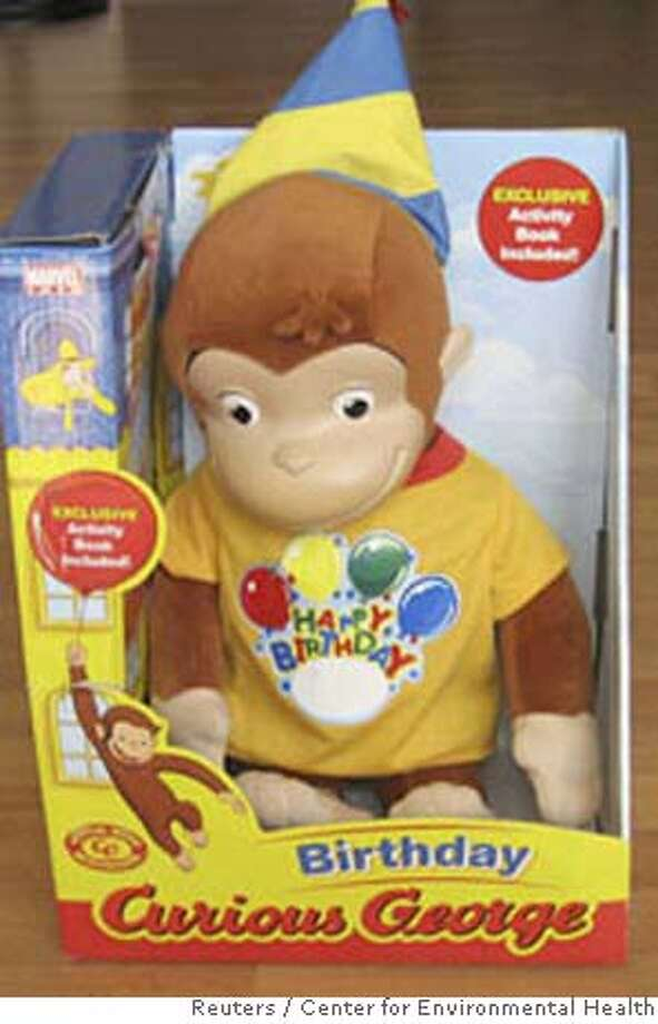 "A Curious George doll bought at Toys ""R"" Us is seen in an undated handout photo released to Reuters October 10, 2007. A Curious George doll bought at Toys ""R"" Us was found to be tainted with 10 times the legally allowed lead level, and vinyl lunch boxes and backpacks also had high amounts of lead, the nonprofit group Center for Environmental Health said on Wednesday. The Curious George doll found with high amounts of lead was made by Marvel Entertainment Group Inc, the Oakland, California-based group said in a statement. A Marvel spokesman said he was unaware of the advocacy group's finding and had no immediate comment. QUALITY FROM SOURCE. REUTERS/Center for Environmental Health/Handout (UNITED STATES). EDITORIAL USE ONLY. NOT FOR SALE FOR MARKETING OR ADVERTISING CAMPAIGNS. NO ARCHIVES. NO SALES. EUO NARCH NOSALES Photo: HO"