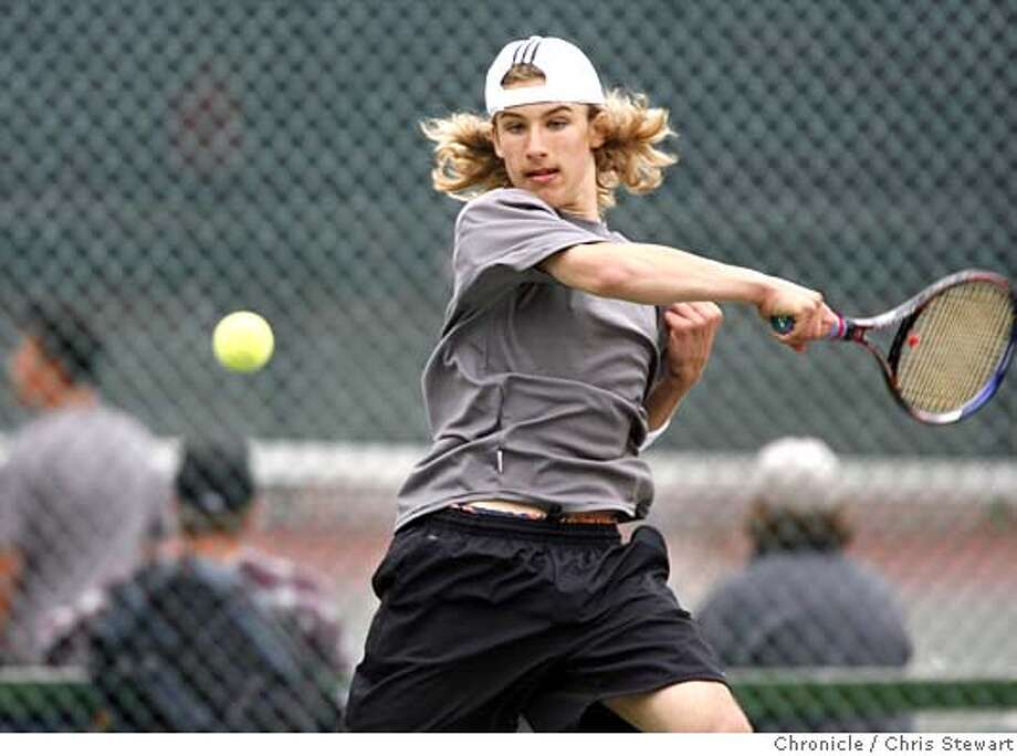 tennis6_292_cs.jpg Event on 5/5/06 in San Francisco.  Antony Bogodist (cq, pictured), 14, a freshman at Lowell High School defeated Javan Gardinier (cq), 17 a junior at Wallenberg High School in the 2006 AAA Boys All-City Varsity Tennis Tournament at the Golden Gate Park tennis courts. The score was 6-1, 6-2.  Chris Stewart / The Chronicle MANDATORY CREDIT FOR PHOTOG AND SF CHRONICLE/ -MAGS OUT Photo: Chris Stewart