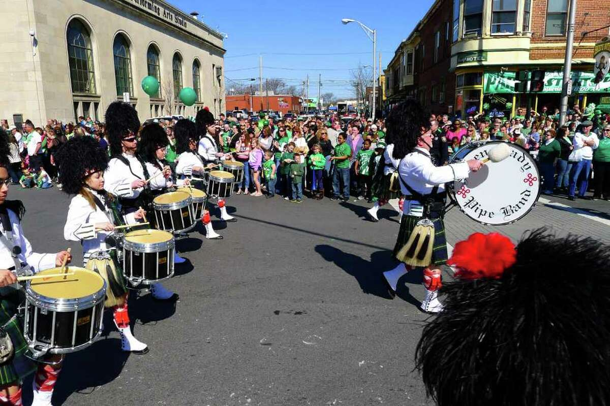 The Schenectady Pipe Band marches in the 62nd Annual Albany St. Patrick?s Parade in Albany, NY Saturday March 17, 2012.( Michael P. Farrell/Times Union )