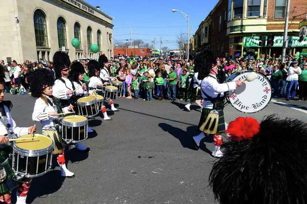 The Schenectady Pipe Band marches in the 62nd Annual Albany St. Patrick?s Parade in Albany, NY Saturday March 17, 2012.( Michael P. Farrell/Times Union ) Photo: Michael P. Farrell / 00016418A