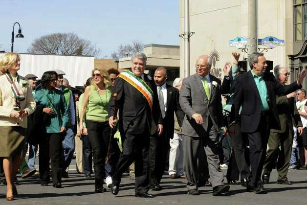 Capital region dignitaries march in the 62nd Annual Albany St. Patrick?s Parade in Albany, NY Saturday March 17, 2012.( Michael P. Farrell/Times Union ) Photo: Michael P. Farrell