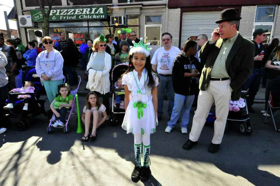 Eight-year-old Rachael Furlong of Colonie dressed as an Irish princess watches during the 62nd Annual Albany St. Patrick?s Parade in Albany, NY Saturday March 17, 2012.( Michael P. Farrell/Times Union ) Photo: Michael P. Farrell
