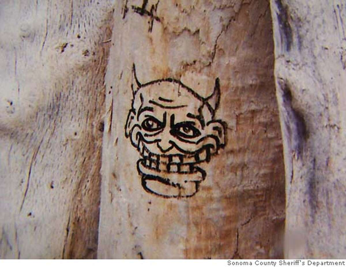 The drawings are of devil-like faces drawn onto driftwood that was located near the victims. We would like to know who drew these.