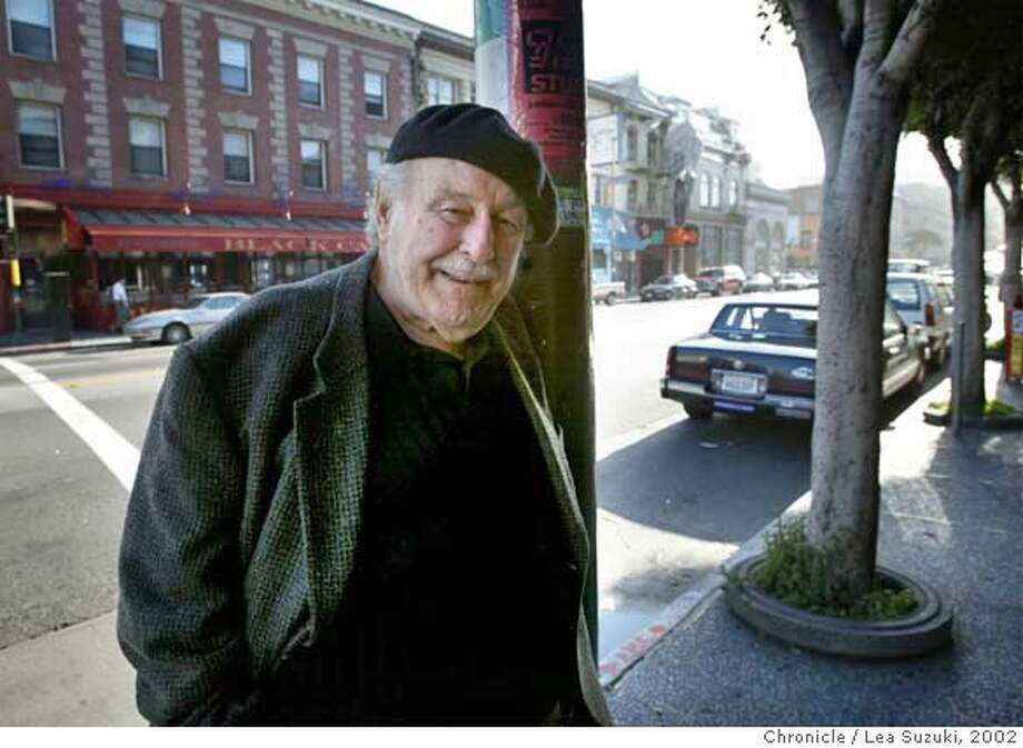 """BANDUCCI3-c-28MAR02-MN-SS Enrico Banducci, the owner of Enrico's in North Beach. Enrico is one of the few remaining """"old-San Francisco"""" people left. He started the """"Hungry Eye"""" and other places in North Beach in the 50's and 60's. Photo made outside Enricos on Broadway. ( SF CHRONICLE PHOTO BY SCOTT SOMMERDORF ) Photo: LEA SUZUKI"""