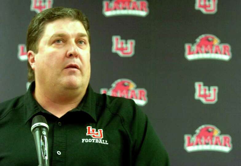 Lamar Cardinals Football Coach, Ray Woodard announces recruits for the 2012 season at Lamar in Beaum