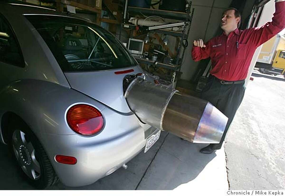 motorxxjetcar011_mk.JPG Don Patrick is a 47-year-old engineer who built himself a Volkswagon bug with a jet engine attacked to the back of it. He spent rouch $250,000 to do so. Mike Kepka / The Chronicle MANDATORY CREDIT FOR PHOTOG AND SF CHRONICLE/ -MAGS OUT