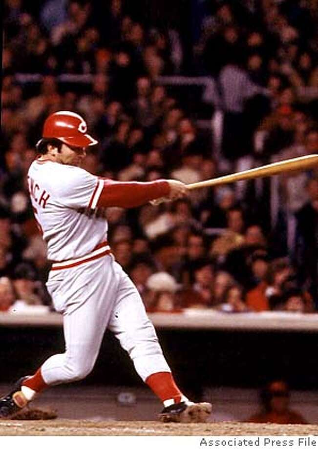 Cincinnati Reds catcher Johnny Bench blasts a hit during trhe 1976 World Seires game against the New York Yankees at Yankee Stadium in New York City. (AP Photo/fls) ALSO RAN 12/30/02 CAT Photo: Adf