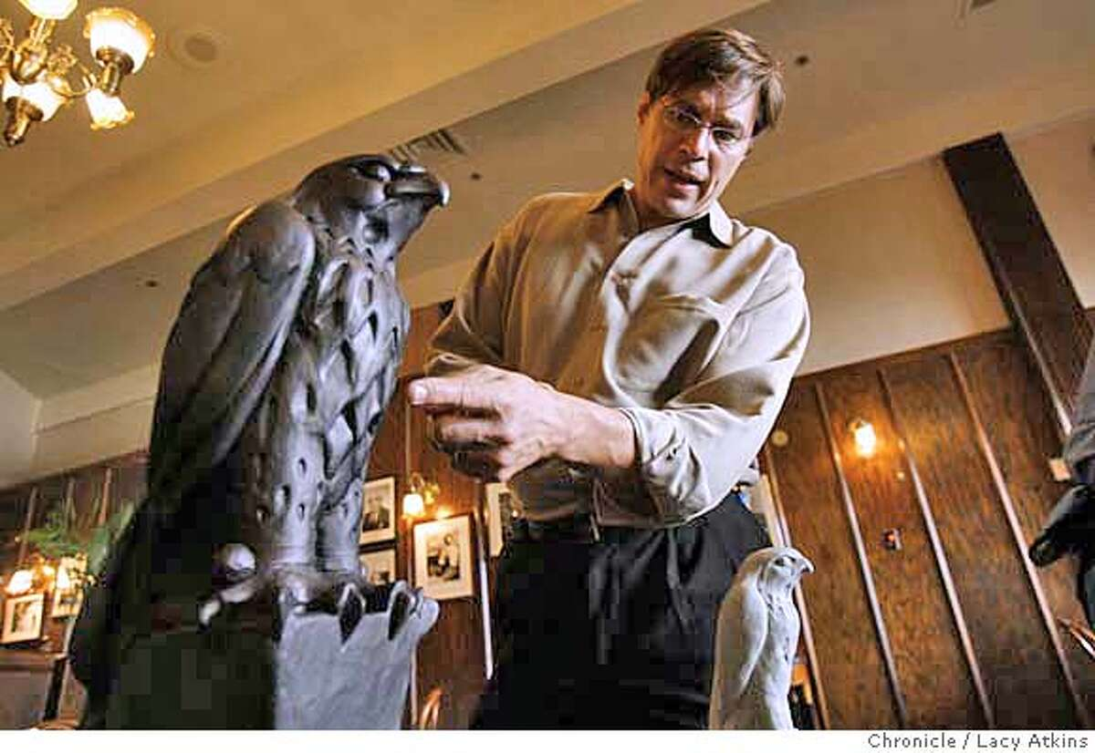 Peter Schifrin of the Academy of Art College explains that this new falcon is 1/3 bigger than the original while displaying the model of the new Maltese Falcon at John's Grill, Tuesday Oct. 9, 2007 in San Francisco, Ca. Lacy Atkins / The Chronicle Photo taken on 10/9/07, in San Francisco, CA, USA