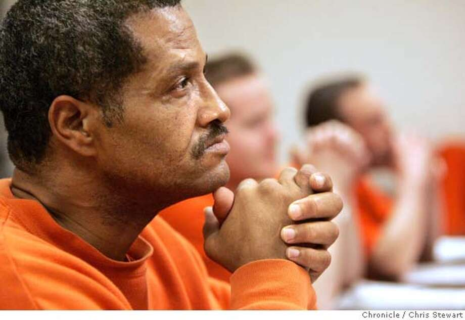 margo_249_cs.jpg Event on 3/23/06 in San Bruno. Inmate Andre Harris, 50, listens attentively during Margo Perin's creative writing class at the SF County Jail in San Bruno. Chris Stewart / The Chronicle MANDATORY CREDIT FOR PHOTOG AND SF CHRONICLE/ -MAGS OUT