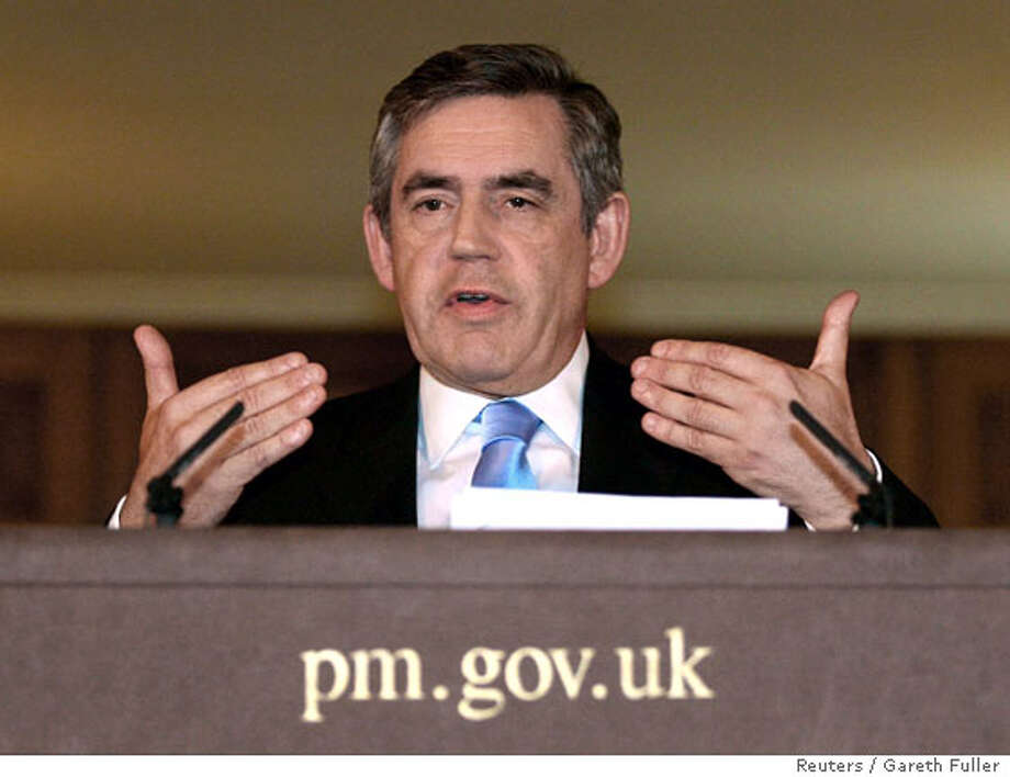 Britain's Prime Minister Gordon Brown talks during a news conference in 10 Downing Street, London October 8, 2007. REUTERS/Gareth Fuller/Rota. EDITORIAL USE ONLY. NOT FOR SALE FOR MARKETING OR ADVERTISING CAMPAIGNS.  Ran on: 10-09-2007  Prime Minister Gordon Brown said Britain's troops will shift to a training role. Photo: HO