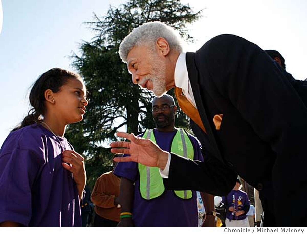 OAKLAND23_MAYORAL_DELLUMS_146_MJM.jpg 5th grader at Chabot Elementary School, 11 year old Zhanine Miggins has a conversation with Ron Dellums after his speech to the teachers. The campaign styles of Oakland�s three leading mayoral candidates are as different as the candidates themselves, and each reflects the candidates� personalities. Ron Dellums, the race�s elder statesman, has been hard to find, appearing at just a handful of events and running what amounts to a stealth campaign. Dellums is poised to go grassroots, however starting Sunday with his first in a series of house meetings. Reflecting his campaign style to date, Dellums supports ongoing causes rather than holding campaign rallies of his own. He made a short appearance at an Oakland teachers rally on the steps of Oakland Tech High School. Photo by Michael Maloney / San Francisco Chronicle on 4/18/06 in Oakland,CARan on: 04-30-2006 Ignacio De La FuenteRan on: 04-30-2006 City Councilwoman Nancy Nadel confers with seniors after a campaign stop at the St. Pauls Tower senior complex.