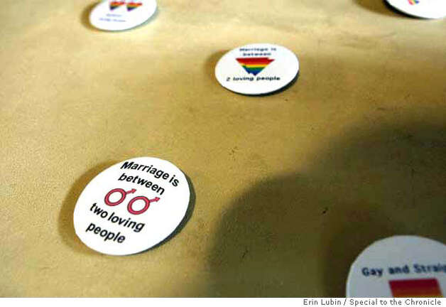 Gaymarriage09_002_EAL.JPG  Buttons promoting gay marriage sit on a table during a gathering of Bay Area residents, Sunday, October 7, 2007, at the Unitarian Church in Redwood City, for the screening of a new television advertisement supporting the freedom of gay people to marry. The advertisement is sponsored by the Equality California Institute and part of the Let California Ring campaign. Event on 10/07/07 in Redwood City.  Erin Lubin / For the Chronicle MANDATORY CREDIT FOR PHOTOG AND SF CHRONICLE/NO SALES-MAGS OUT Photo: Erin Lubin