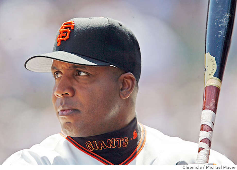 giants_401_mac.jpg Giants Barry Bonds not in the starting lineup today hangs out near the dugout before pinch hitting in the 9th. San Francisco Giants vs. New York Mets. AT &T Ballpark. Event in, San Francisco, Ca, on 4/26/06. Photo by: Michael Macor / San Francisco Chronicle Photo: Michael Macor