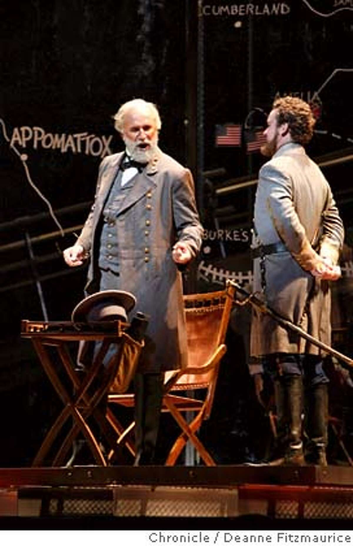 appomattox_167_df.jpg At left, Dwayne Croft plays General Robert E. Lee. San Francisco Opera performs Appomattox, Philip Glass's Civil War piece. Photographed in San Francisco on 10/2/07. Deanne Fitzmaurice / The Chronicle Mandatory credit for photographer and San Francisco Chronicle. No Sales/Magazines out.