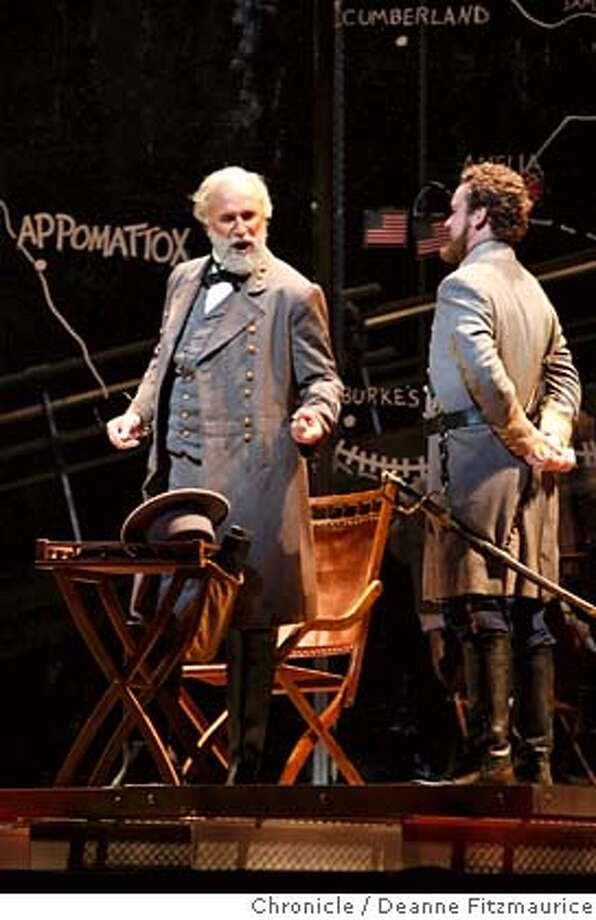 appomattox_167_df.jpg  At left, Dwayne Croft plays General Robert E. Lee. San Francisco Opera performs Appomattox, Philip Glass's Civil War piece. Photographed in San Francisco on 10/2/07. Deanne Fitzmaurice / The Chronicle Mandatory credit for photographer and San Francisco Chronicle. No Sales/Magazines out. Photo: Deanne Fitzmaurice