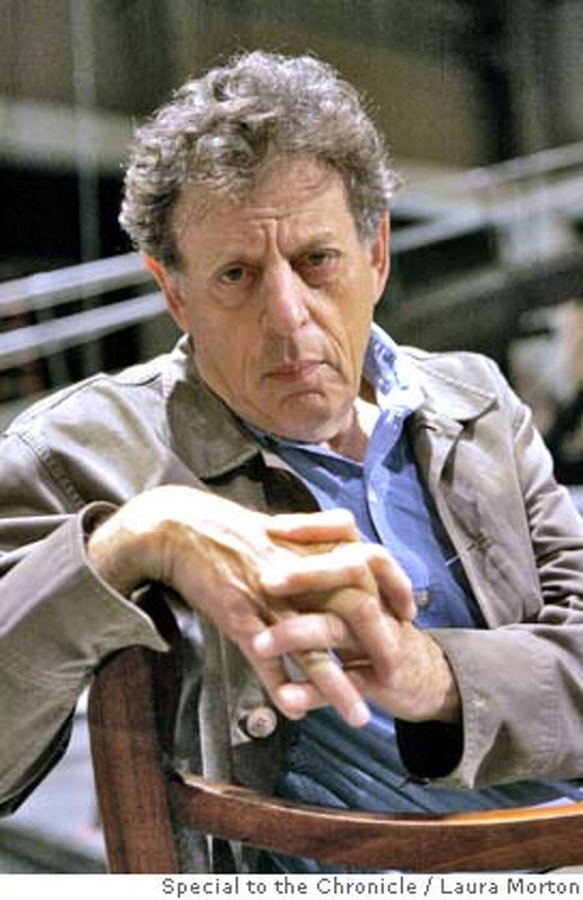 GLASS23_0453_LKM.jpg Composer Philip Glass on the set of Appomattox at the War Memorial Opera House. Glass composed the score for the opera, which opens Oct. 5. (Laura Morton/Special to the Chronicle) *** Philip Glass Ran on: 09-23-2007