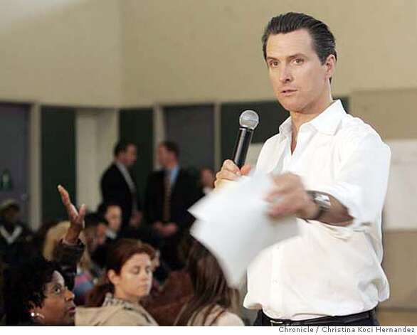 "At the Boys and Girls Club in SF""s Excelsior district, Mayor Gavin Newsom holds a town hall-style forum , the fourth such meeting Newsom has hosted in lieu of attending monthly Board of Supervisors meetings as a voter-approved measure passed in November called on him to do. (Christina Koci Hernandez/The Chronicle) Ran on: 04-23-2007  Gavin Newsom  Ran on: 04-23-2007  Gavin Newsom  ALSO Ran on: 05-25-2007  Mayor Gavin Newsom wants a special court to handle nuisance and quality of life crimes.  Ran on: 06-05-2007  Gavin Newsom  Ran on: 06-05-2007  Gavin Newsom CHRONICLE Photos by Christina Koci Hernandez Photo: Christina Koci Hernandez/CHRONIC"