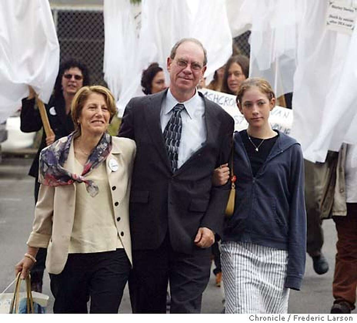 Medical marijuana advocate Ed Rosenthal along with his wife Jane Klein (left) and his daughter Justine Rosenthal (12) walked into the Federal courthouse at 450 Golden Gate Ave in SF, where he will be sentenced on federal cultivation charges. Mr. Rosenthal went to trial in federal court in SF on charges of marijuana cultivation and conspiracy. The charges stem from a business he ran growing marijuana to be sold for medicinal uses under the auspices of the City of Oakland's medical marijuana ordinance, one of many such municipal statutes in California. FREDERIC LARSON / The Chronicle