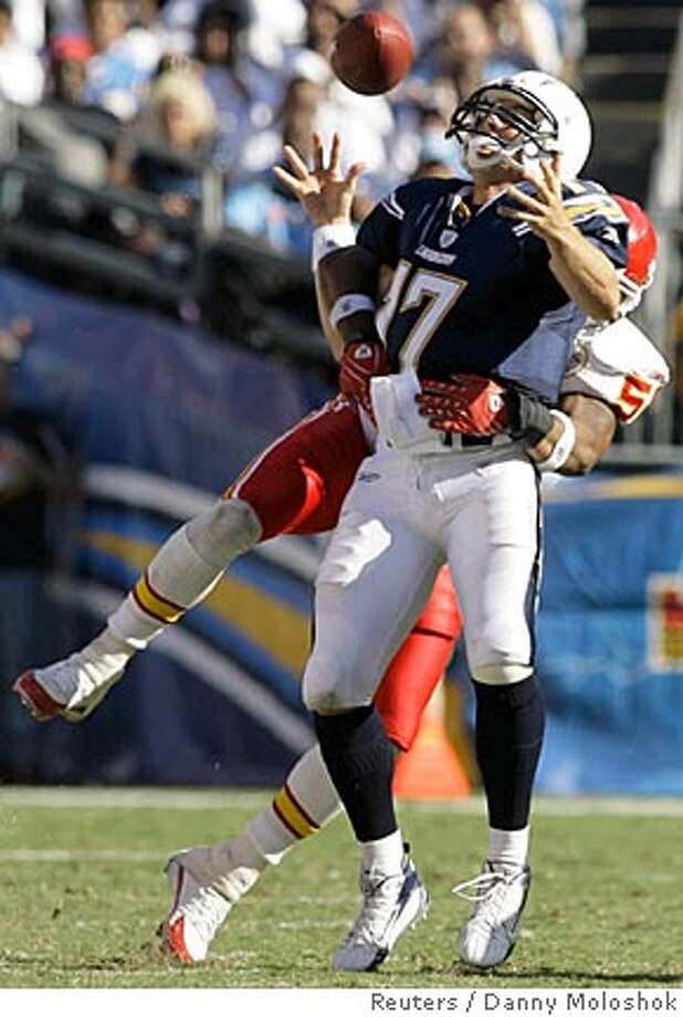 San Diego Chargers quarterback Philip Rivers fumbles the ball as Kansas City Chiefs Derrick Johnson (R) sacks him in the fourth quarter of their NFL football game in San Diego, California, September 30, 2007. The Chiefs' Tyron Brakenridge (not pictured) recovered the fumble and ran the ball back 50 yards for a touchdown. REUTERS/Danny Moloshok (UNITED STATES)  Ran on: 10-07-2007  San Diego quarterback Philip Rivers fumbles the ball as Kansas City's Derrick Johnson sacks him Sunday. The Chargers (1-2) lost 30-16.  Ran on: 10-07-2007 Ran on: 10-07-2007 Ran on: 10-07-2007 Photo: DANNY MOLOSHOK