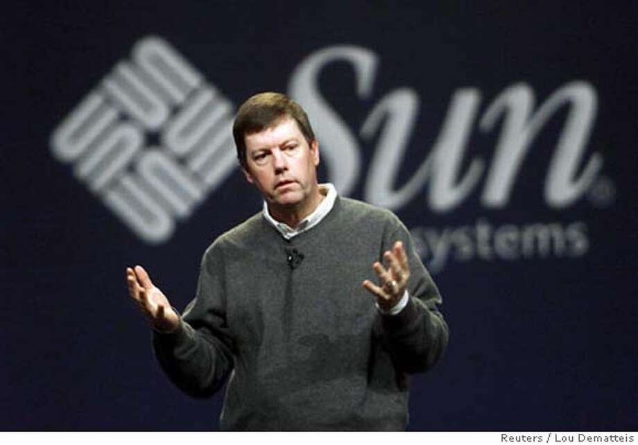 File photo shows Sun Microsystems CEO McNealy making a point during his keynote address at Oracle Open World Conference in San Francisco Photo: LOU DEMATTEIS