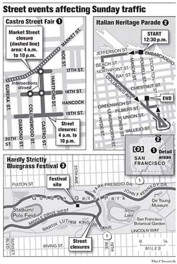 Street events affecting Sunday traffic. Chronicle Graphic