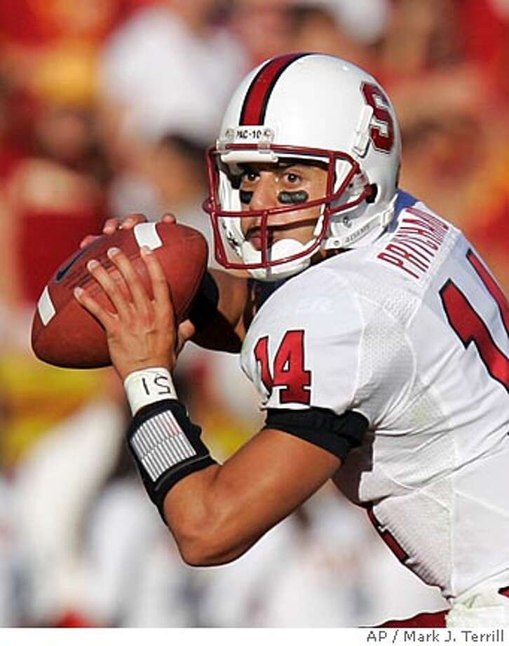 Stanford quarterback Tavita Pritchard gets set to pass during the first half of their NCAA Football game against Southern California, Saturday, Oct. 6, 2007, in Los Angeles. (AP Photo/Mark J. Terrill) Photo: Mark J. Terrill