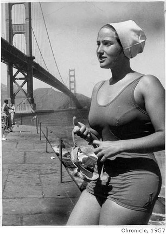 wayback07 In 1957, Myra Thompson tried to become the first person to swim from the Farallon Islands to San Francisco, but she did not succeed. MANDATORY CREDIT FOR PHOTOG AND SF CHRONICLE/NO SALES-MAGS OUT Photo: Chronicle Archive 1957