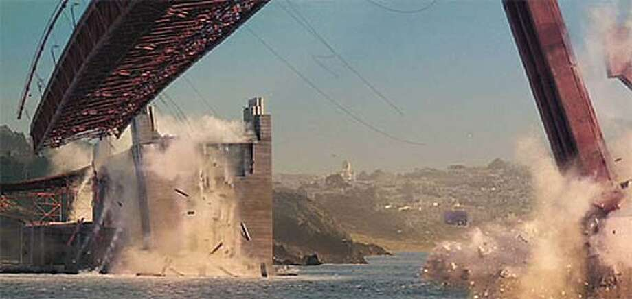 "A 2,500-foot replica of the Golden Gate Bridge was created for ""X-Men: The Last Stand."" 20th Century Fox Photo"