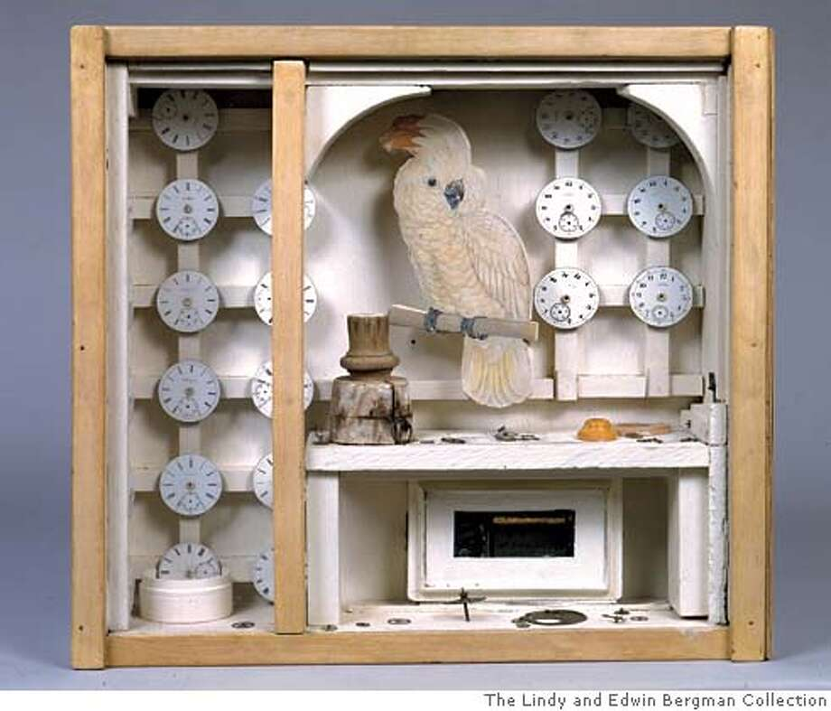 Untitled (Cockatoo with Watch Faces), c. 1949  Box construction with inoperative music box  16 1/4 x 17 x 4 7/16 inches (41.3 x 43.2 x 11.3 cm)  The Lindy and Edwin Bergman Collection  Photograph by Michael Tropea, Chicago  � The Joseph and Robert Cornell Memorial Foundation/Licensed by VAGA, New York, New York Photo: -